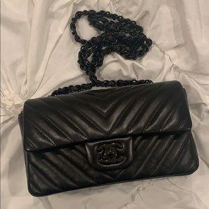 Chanel Flap chevron So Black Mini cross body bag